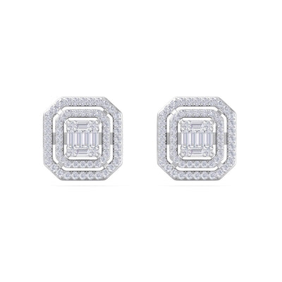 Square earrings in white gold with white diamonds of 2.75 ct in weight