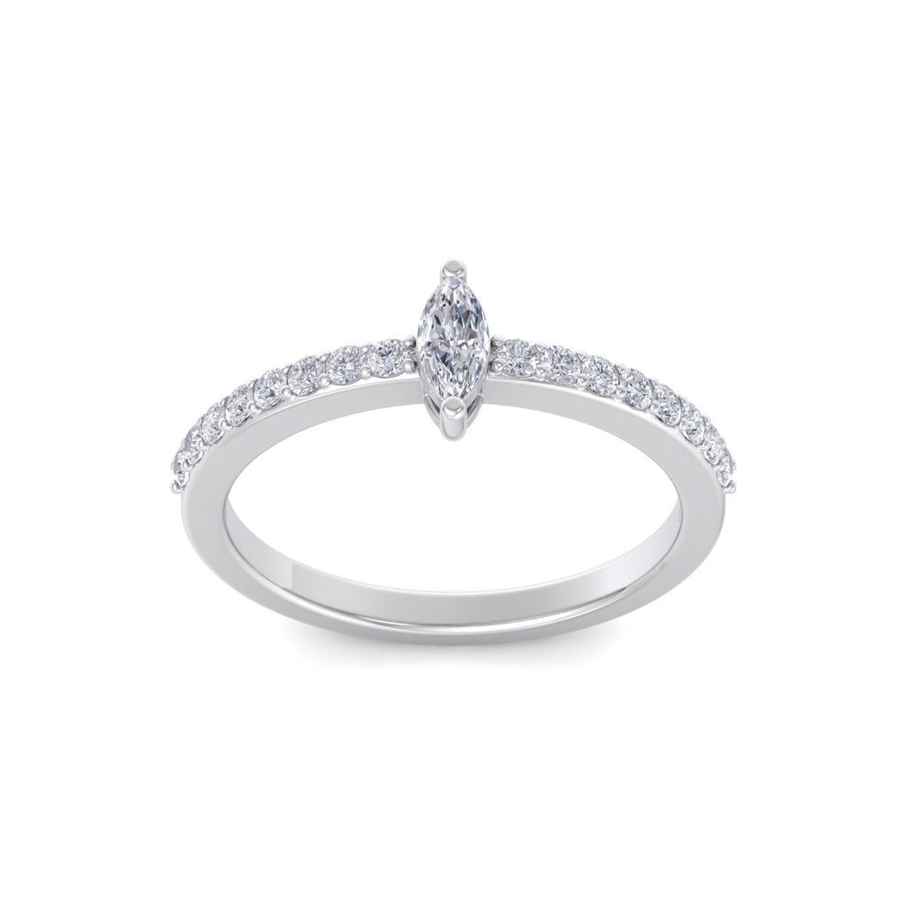 Petite marquise ring in white gold with white diamonds of 0.44 ct in weight