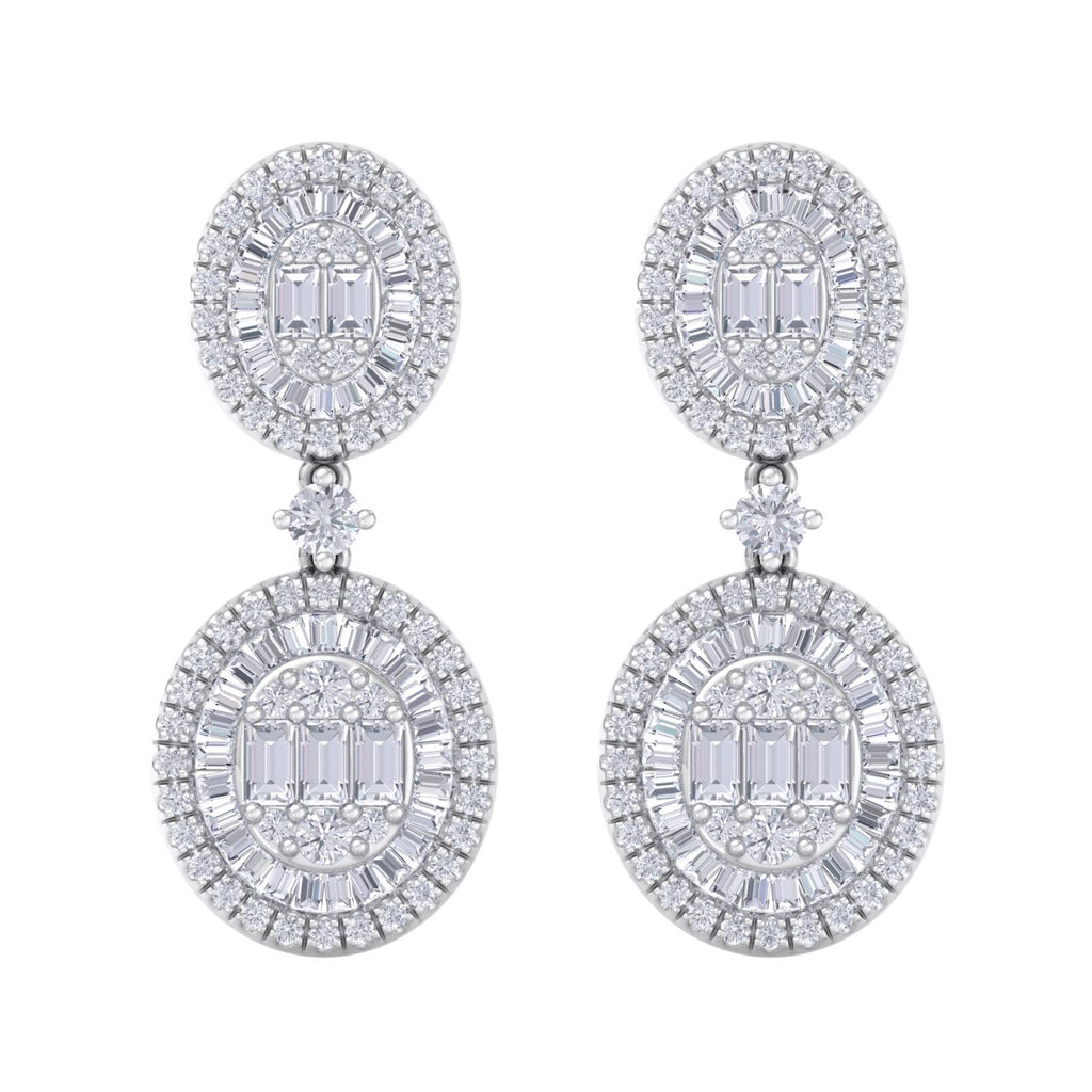 Drop earrings in white gold with white diamonds of 2.33 ct in weight