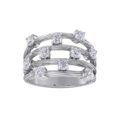 Multi-band ring in white gold with white diamonds of 0.90 ct in weight