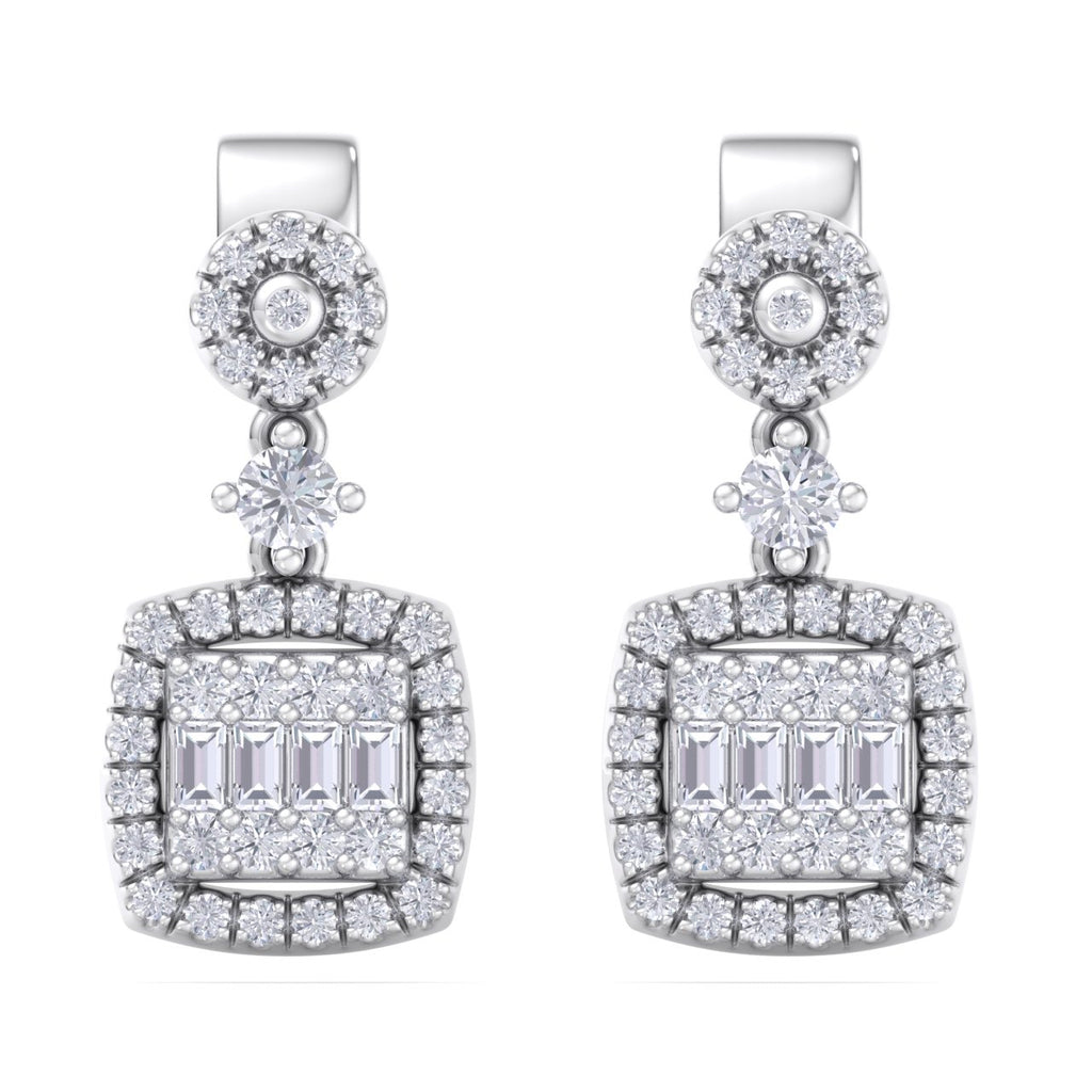 Drop earrings in white gold with white diamonds of 0.61 ct in weight