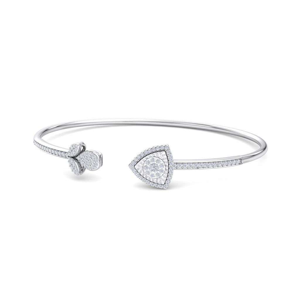 Bangle with tulip in white gold white diamonds of 0.52 ct in weight
