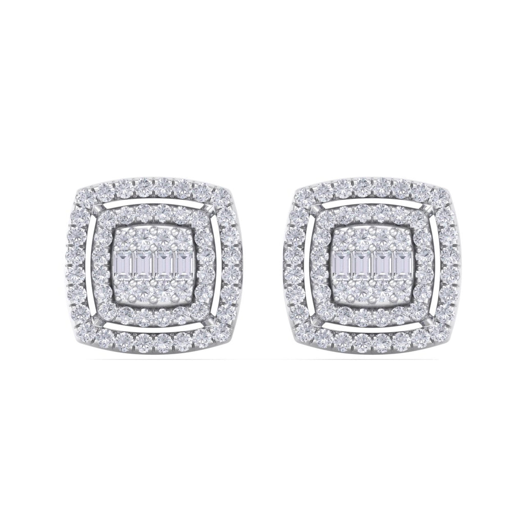 Square stud earrings in white gold with white diamonds of 0.67 ct in weight