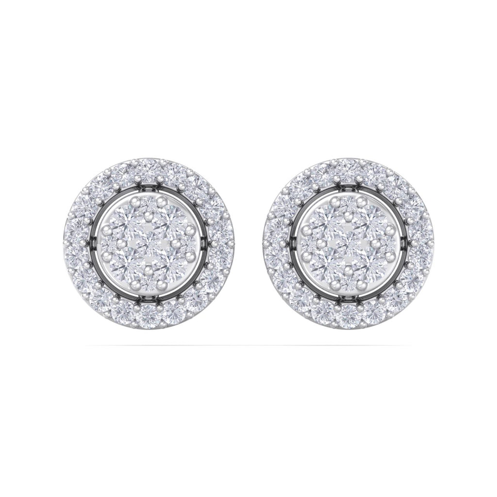 Halo stud earrings in white gold with white diamonds of 0.37 ct in weight