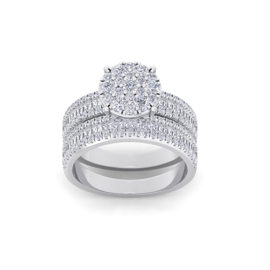 Bridal set in white gold with white diamonds of 1.48 ct in weight