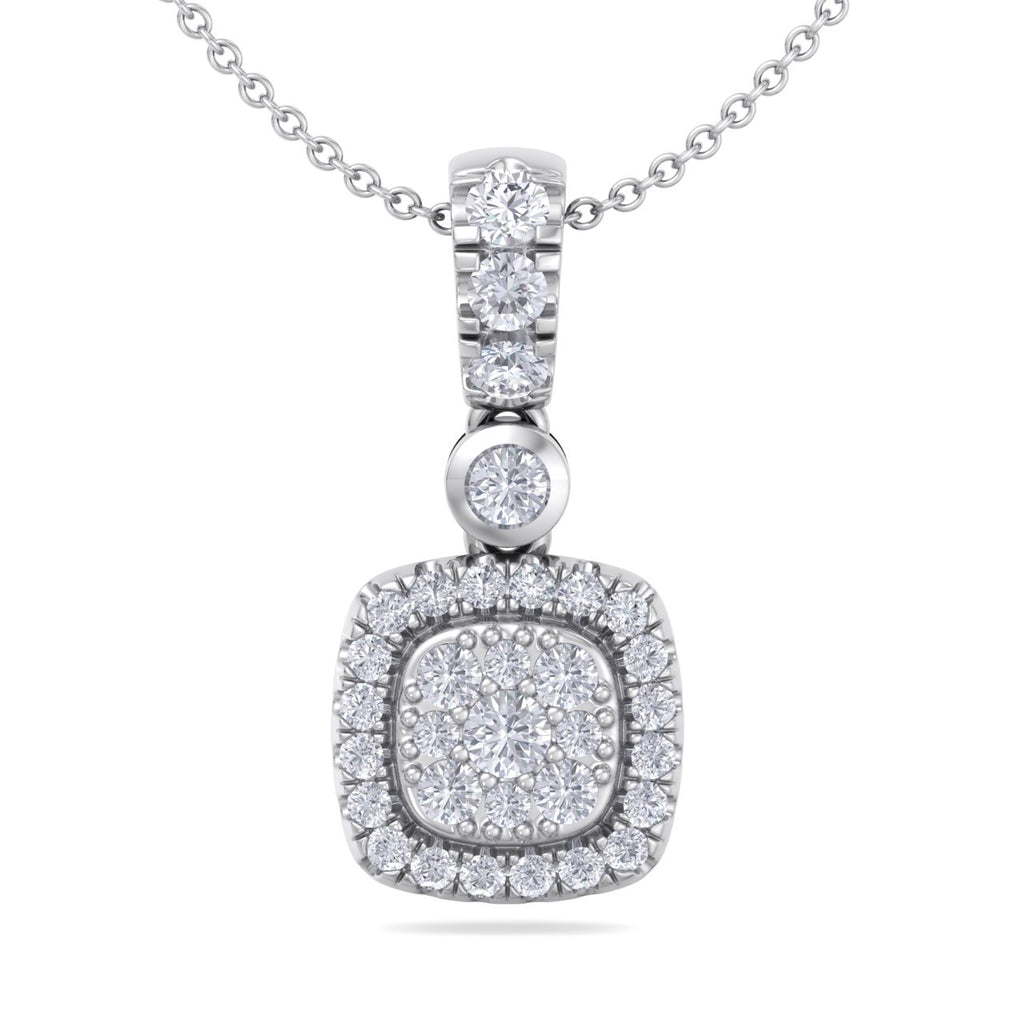 Square pendant in white gold with white diamonds of 0.45 ct in weight - HER DIAMONDS®