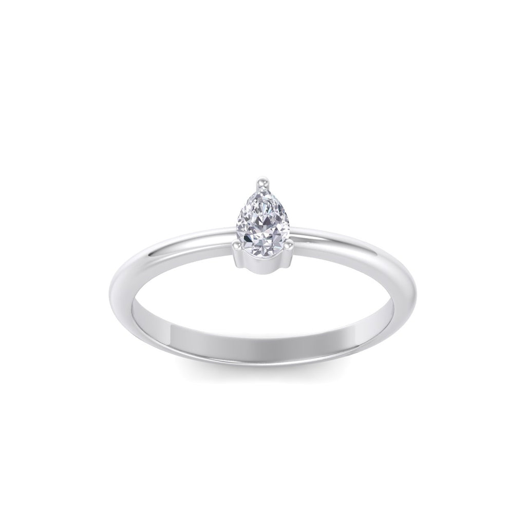 Pear shaped petite diamond ring in white gold with white diamonds of 0.25 ct in weight