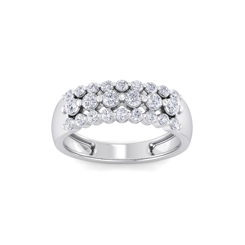 Three row ring in white gold with white diamonds of 0.81 ct in weight