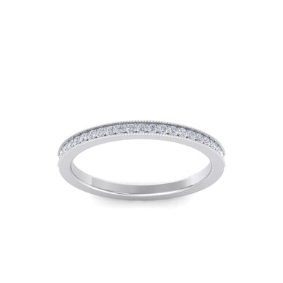Half eternity channel wedding band in white gold with white diamonds of 0.15 ct in weight
