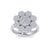 Flower shaped ring in rose gold with white diamonds of 1.84 ct in weight