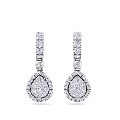 Pear drop earrings in white gold with white diamonds of 0.79 ct in weight - HER DIAMONDS®