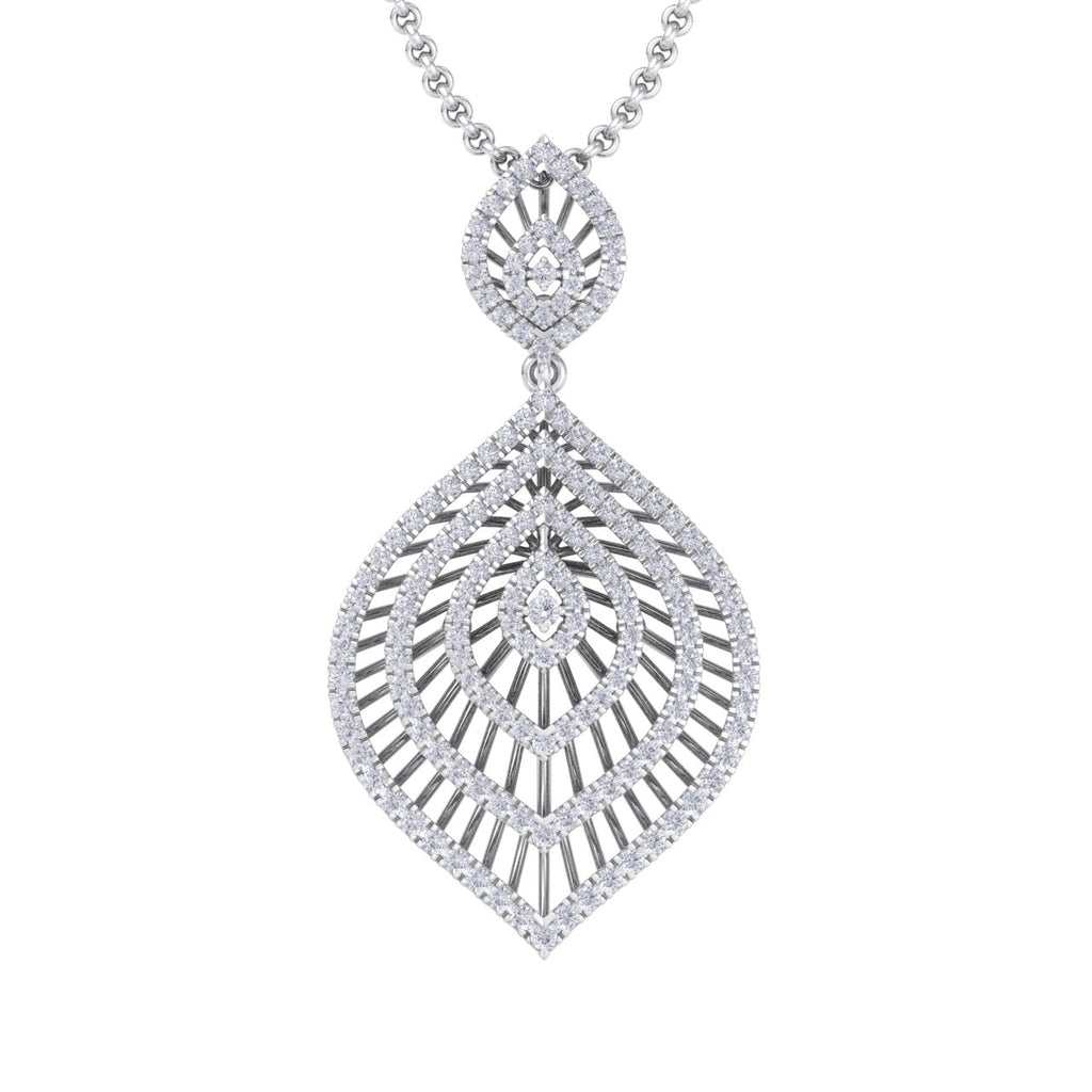 Exclusive pendant in white gold with white diamonds of 2.03 ct in weight