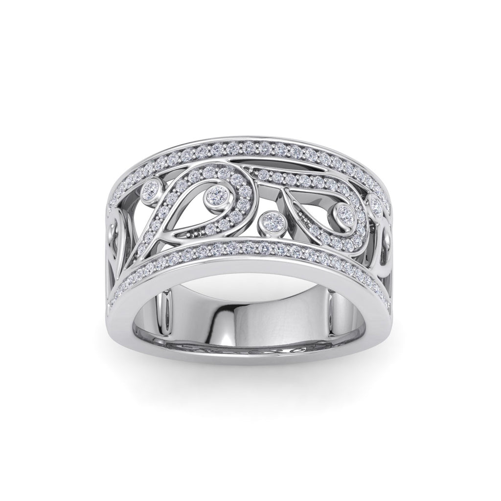 Wide ring in white gold with white diamonds of 0.48 ct in weight
