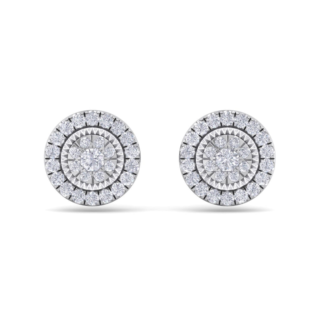 Round stud earrings in white gold with white diamonds of 0.55 ct in weight