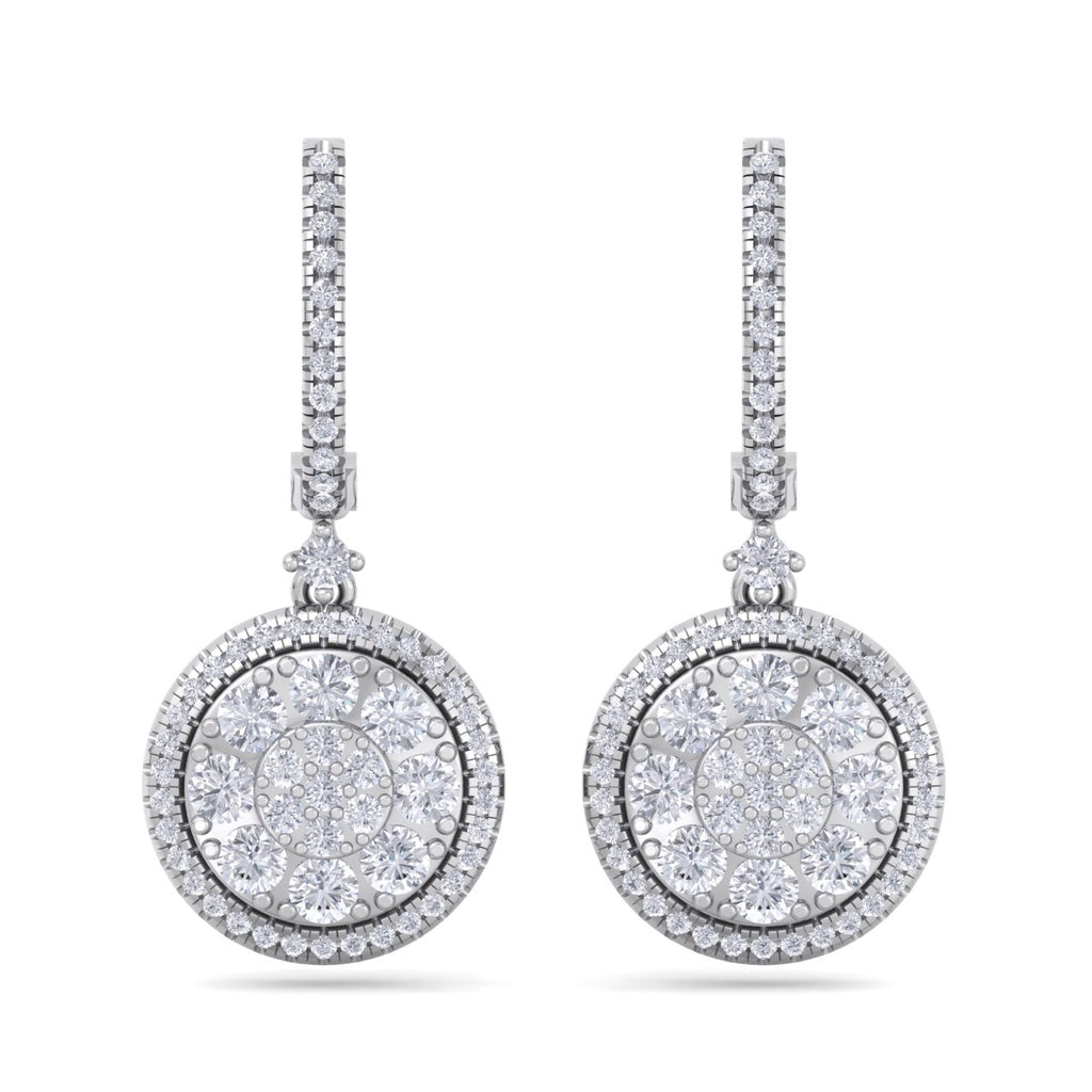 Round earrings in white gold with white diamonds of 1.83 ct in weight - HER DIAMONDS®