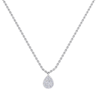 Pear drop necklace in white gold with white diamonds of 0.72 ct in weight - HER DIAMONDS®