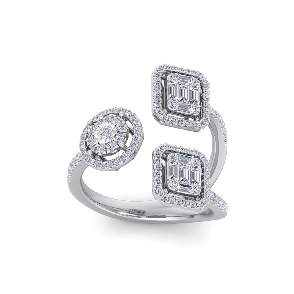 Ring in white gold with white diamonds of 1.02 ct in weight