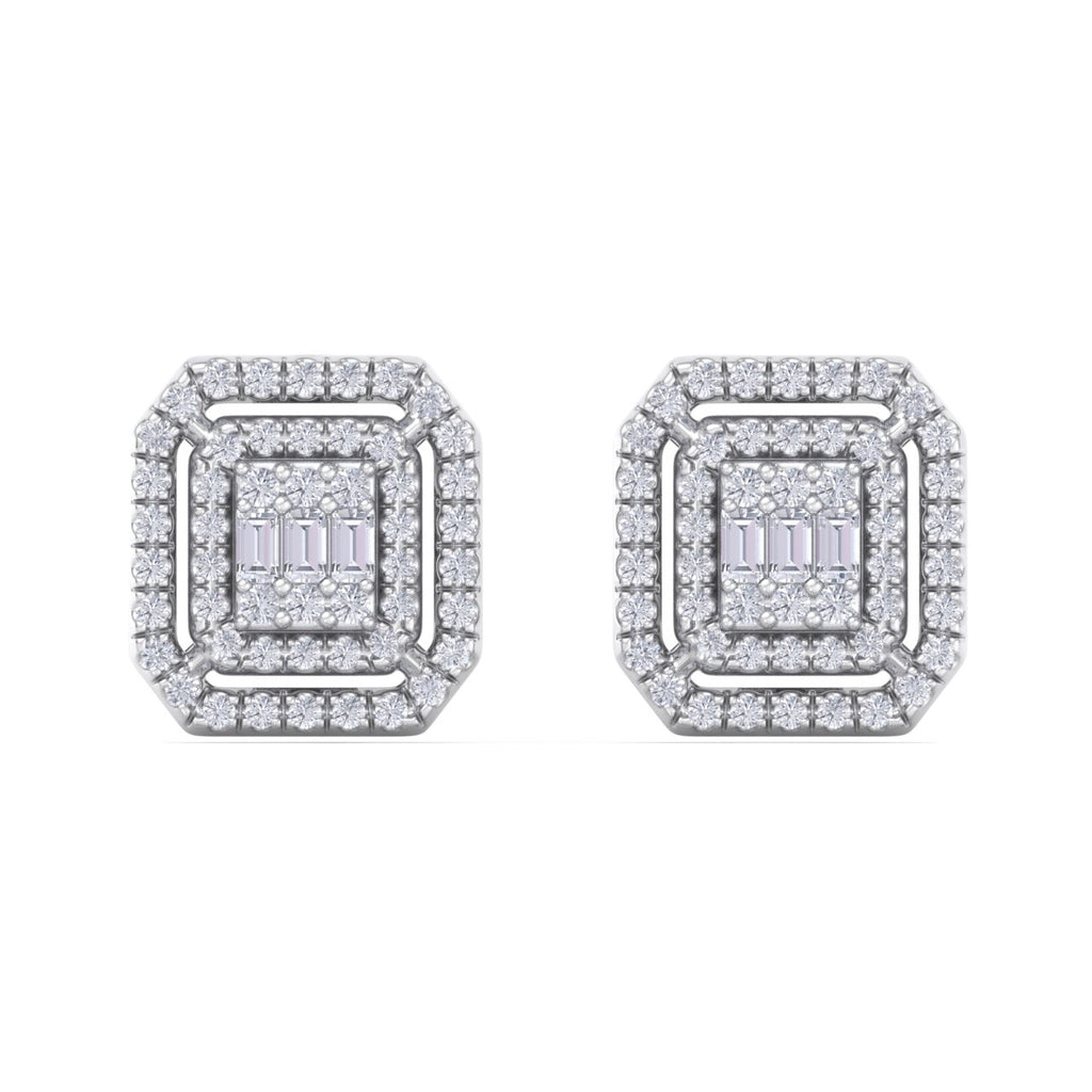 Square stud earrings in white gold with white diamonds of 1.12 ct in weight