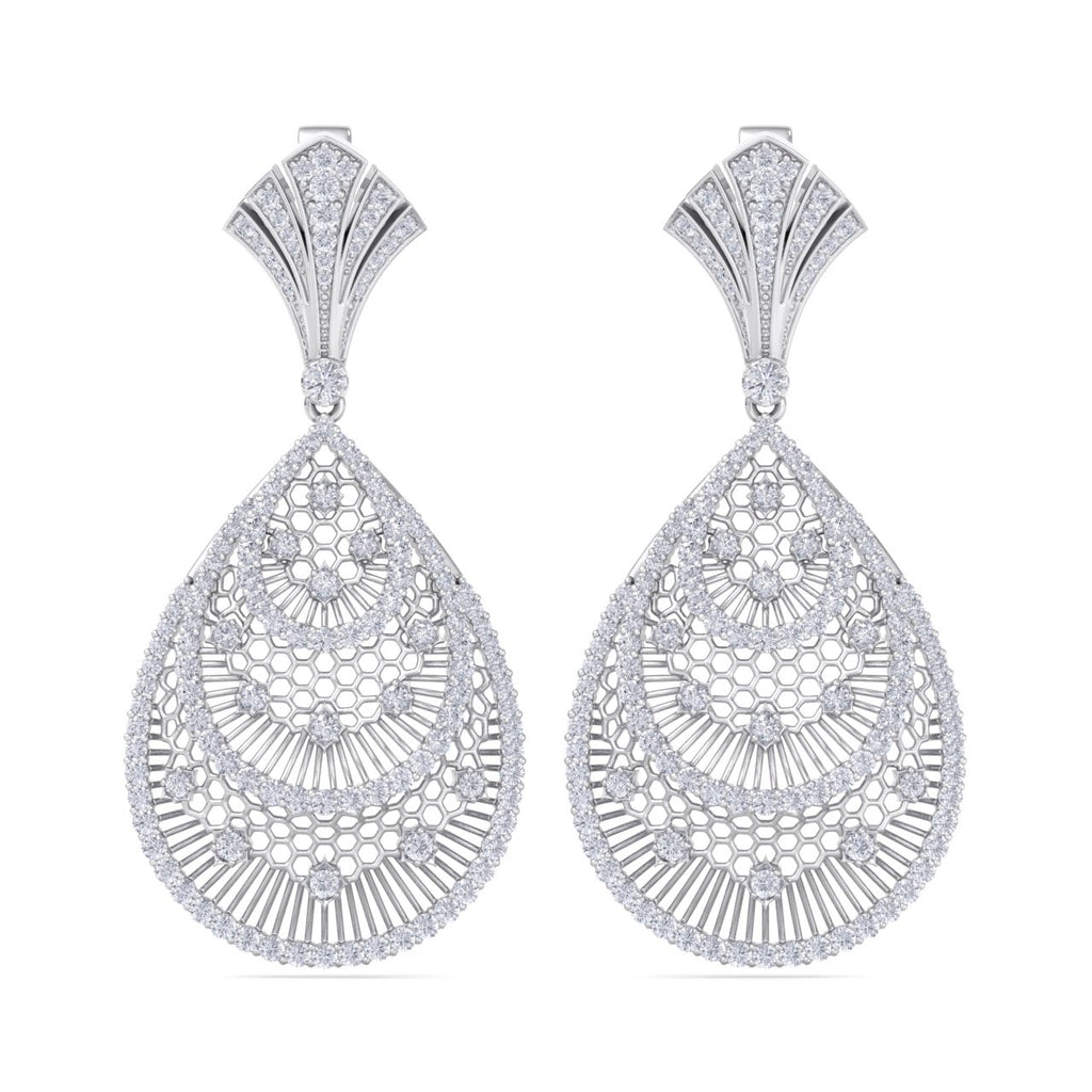 Chandelier earrings in white gold with white diamonds of 3.22 ct in weight