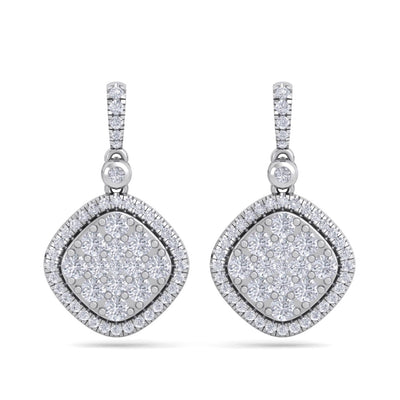 Square drop earrings in white gold with white diamonds of 1.39 ct in weight - HER DIAMONDS®