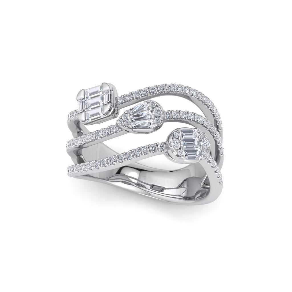 Multi-band ring in white gold with white diamonds of 1.49 ct in weight
