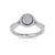 Halo ring in white gold with petite white diamonds of 0.76 ct in weight