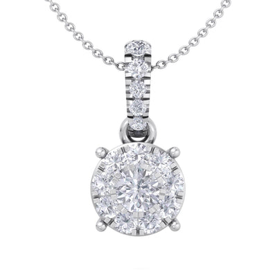 Classic pendant in white gold with white diamonds of 0.29 ct in weight - HER DIAMONDS®
