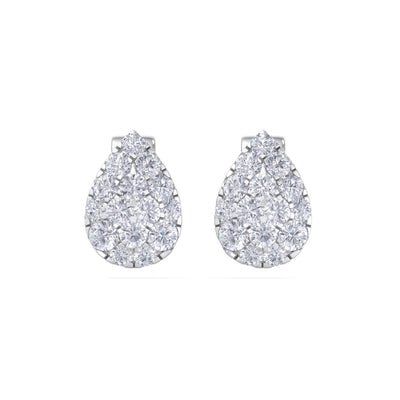 Pear shaped stud earrings in white gold with white diamonds of 0.71 ct in weight