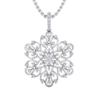 Flower pendant in white gold with white diamonds of 1.02 ct in weight