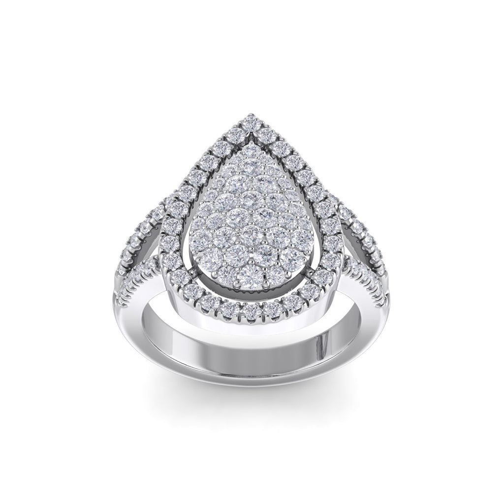 Statement ring with pear shape in white gold with white diamonds of 1.05 ct in weight