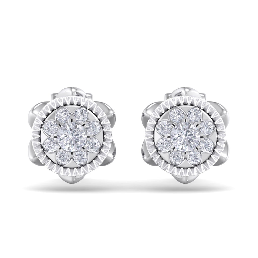 Stud earrings in white gold with white diamonds of 0.28 ct in weight