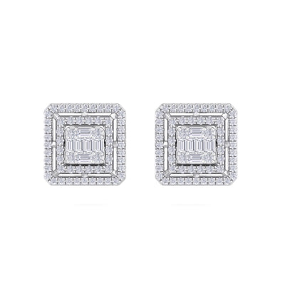 Square stud earrings in white gold with white diamonds of 0.71 ct in weight - HER DIAMONDS®