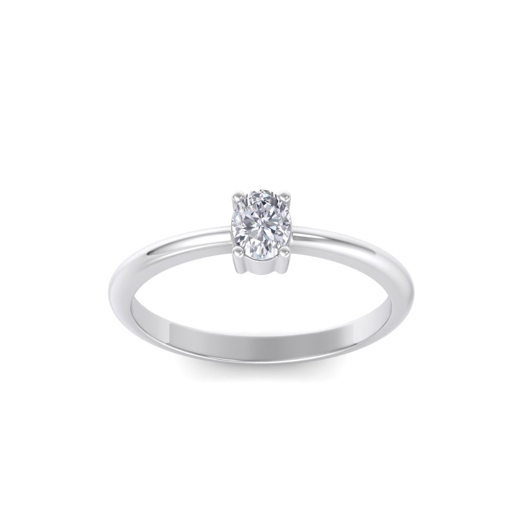 Oval shaped petite mini diamond ring in white gold with white diamonds of 0.25 ct in weight