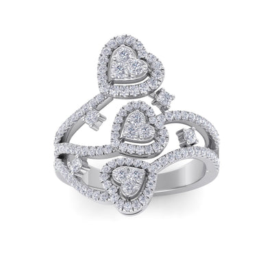 Heart statement ring in white gold with white diamonds of 1.03 ct in weight