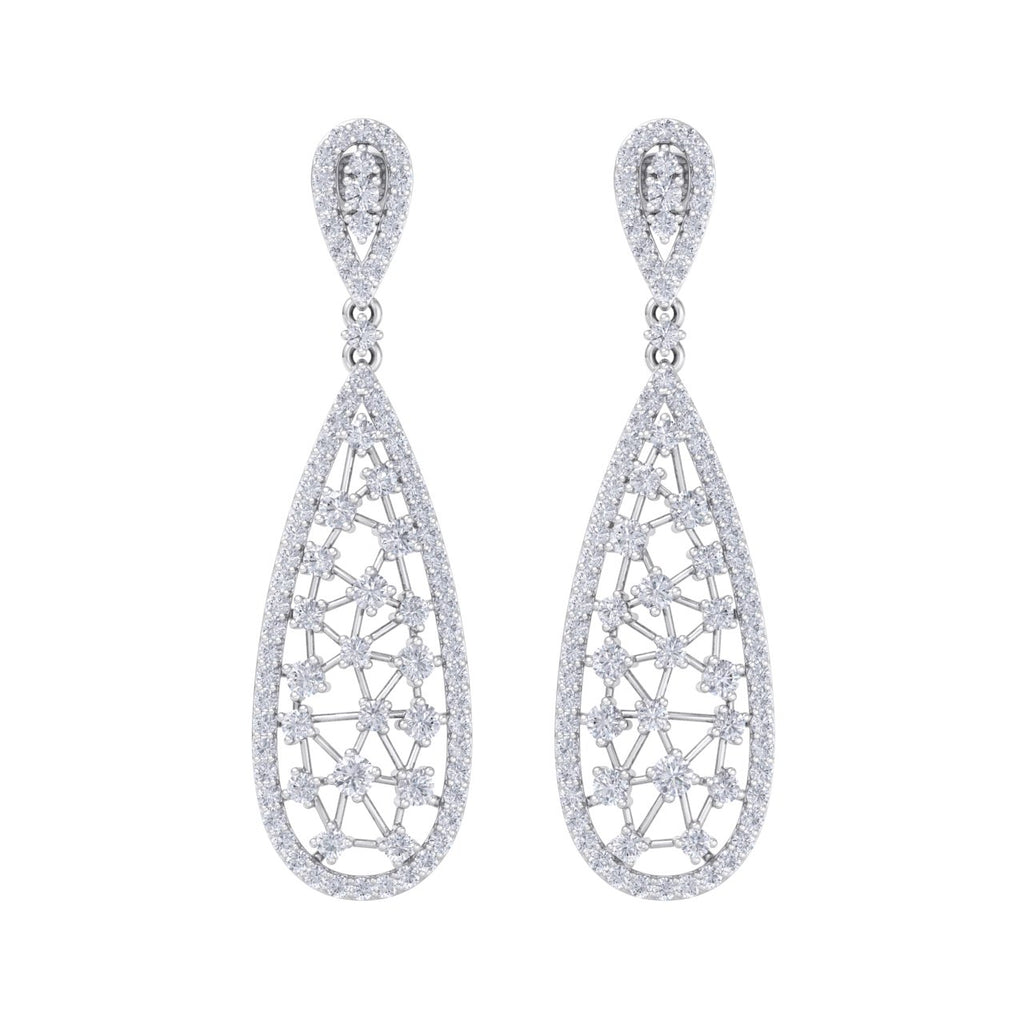 Chandelier earrings in white gold with white diamonds of 3.04 ct in weight