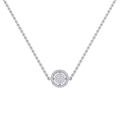 Circle necklace in white gold with white diamonds of 0.33 ct in weight - HER DIAMONDS®