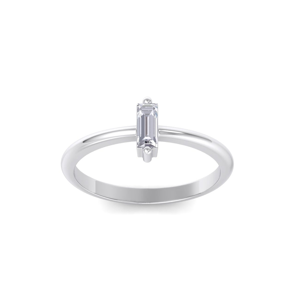 Baguette shaped petite diamond ring in white gold with white diamonds of 0.25 ct in weight
