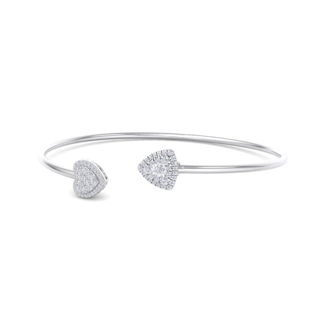 Heart shape bangle in white gold with white diamonds of 0.42 ct in weight