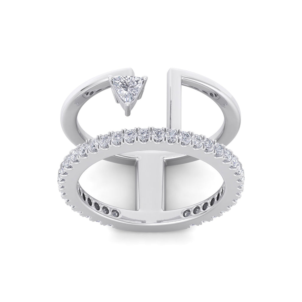 Double band ring in white gold with white diamonds of 0.57 ct in weight