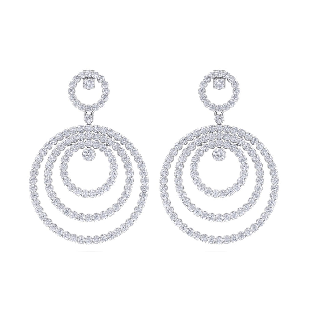 Chandelier earrings in white gold with white diamonds of 8.44 ct in weight