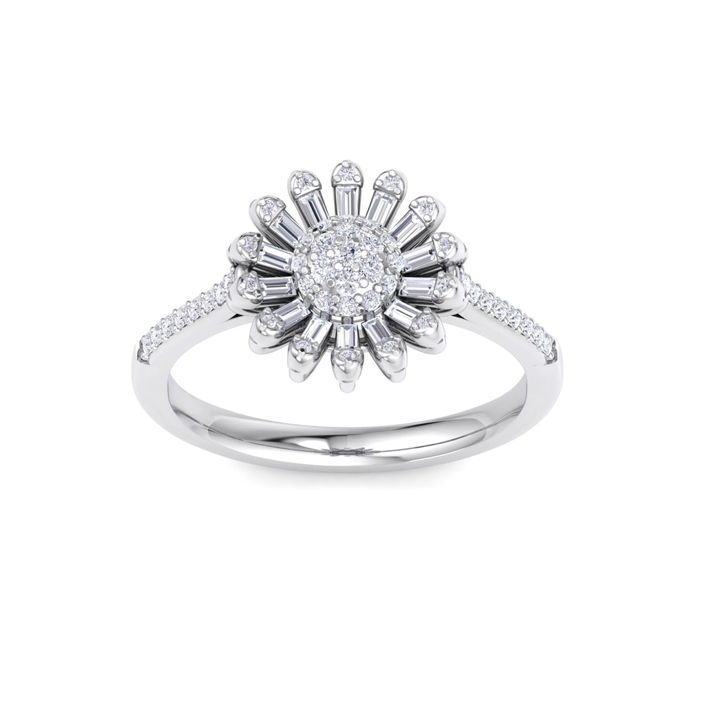 Sunflower ring in white gold with white diamonds of 0.43 ct in weight