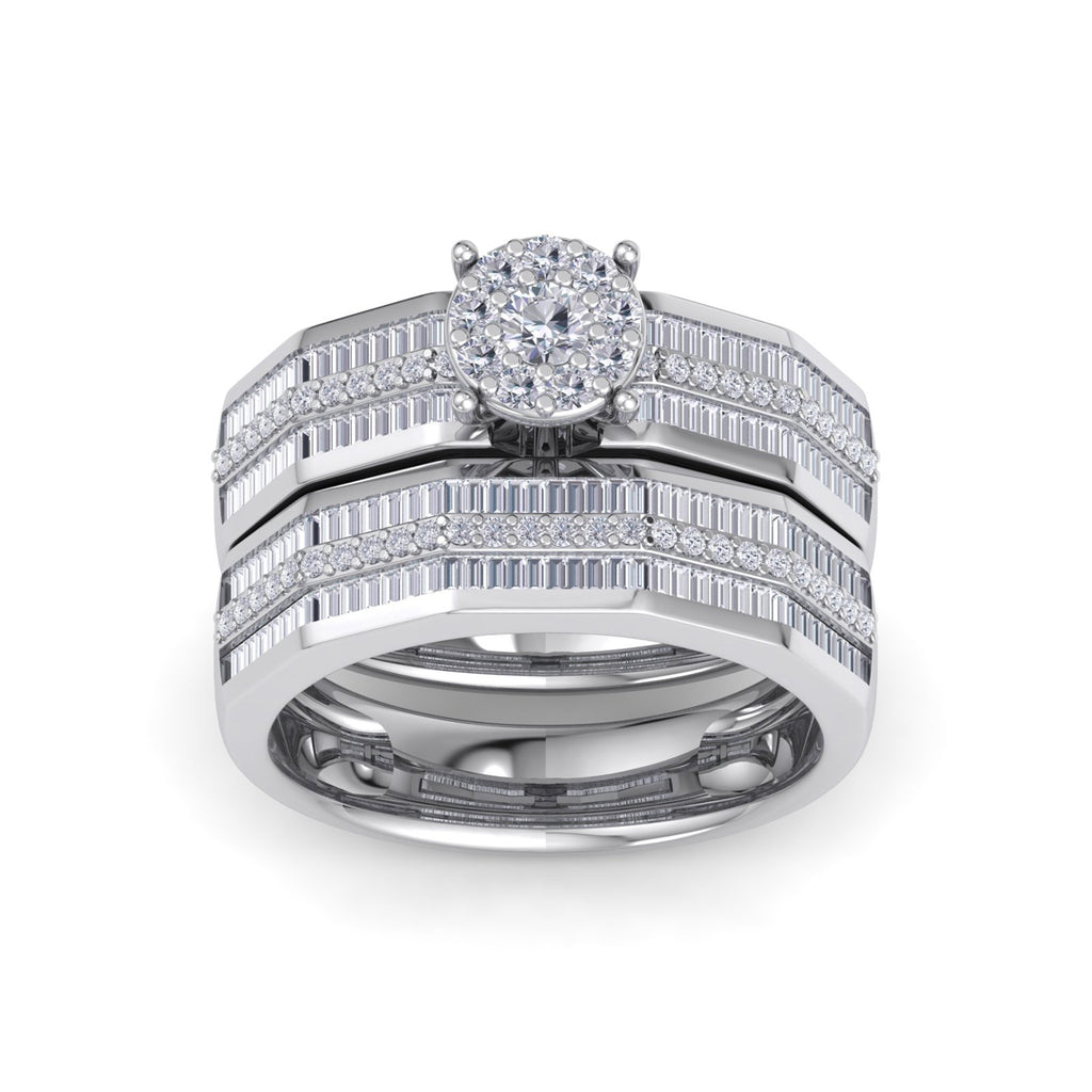Bridal set in white gold with white diamonds of 1.14 ct in weight