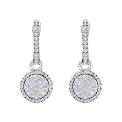 Diamond earrings in white gold with white diamonds of 0.84 ct in weight - HER DIAMONDS®