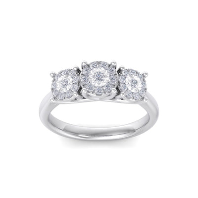 Three stones diamond ring with miracle plates in white gold with white diamonds of 0.37 ct in weight