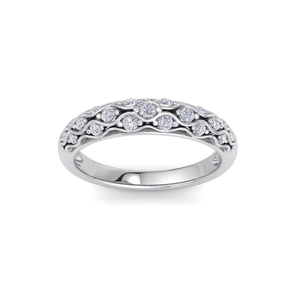 Petite rolled pavé ring in white gold with white diamonds of 0.29 ct in weight