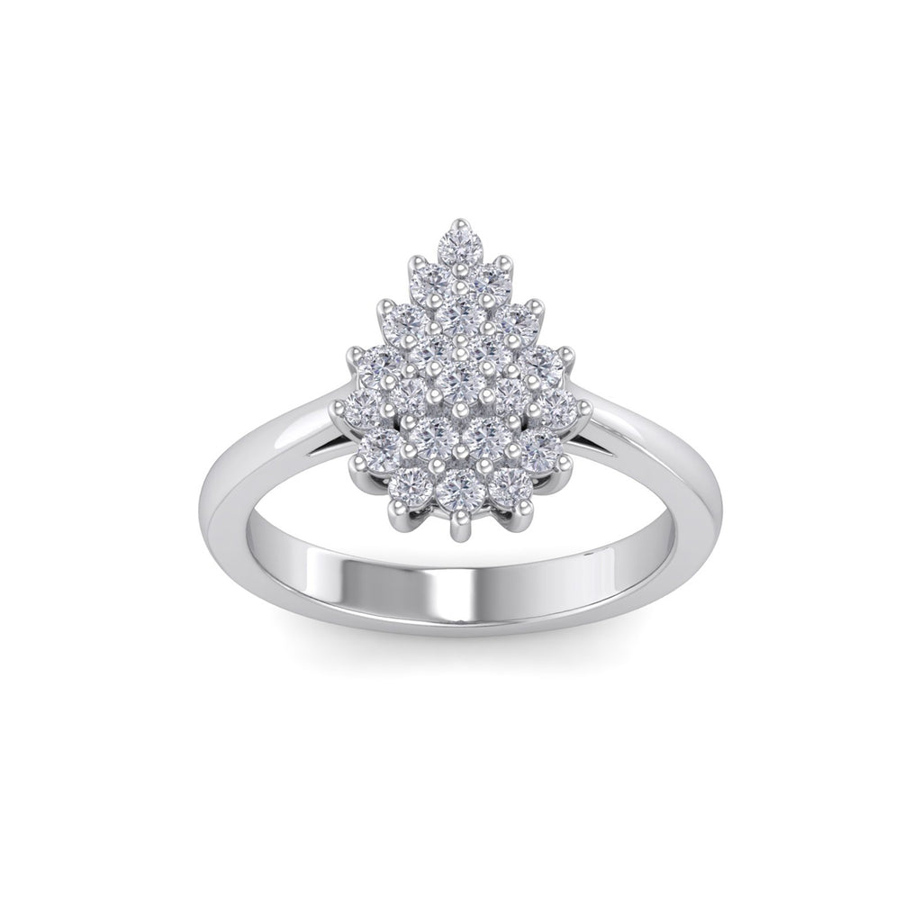 Pear diamond ring in white gold with white diamonds of 0.59 ct in weight