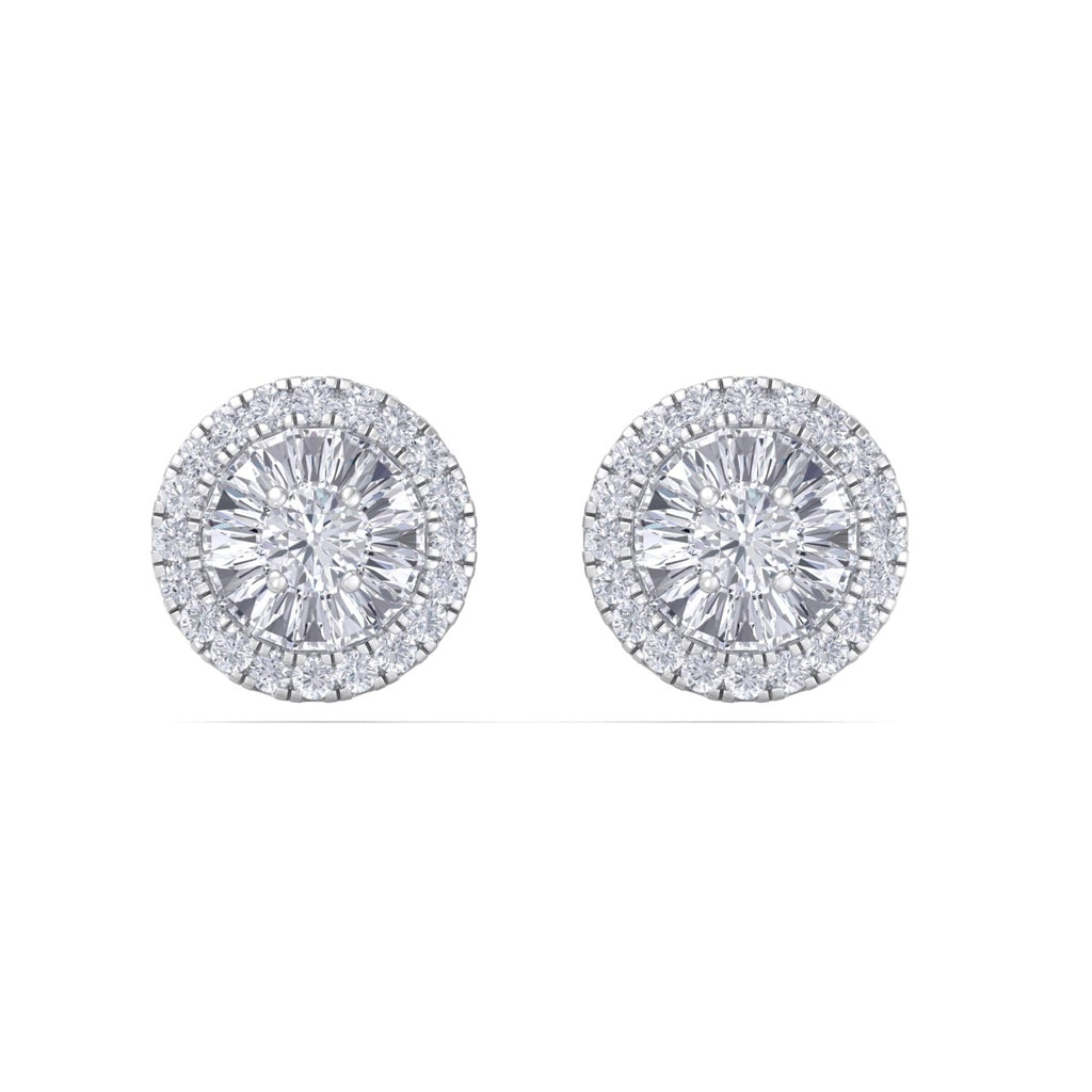 Halo stud earrings in white gold with white diamonds of 0.46 ct in weight