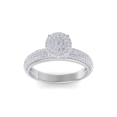Cluster solitaire ring in white gold with white diamonds of 0.71 ct in weight