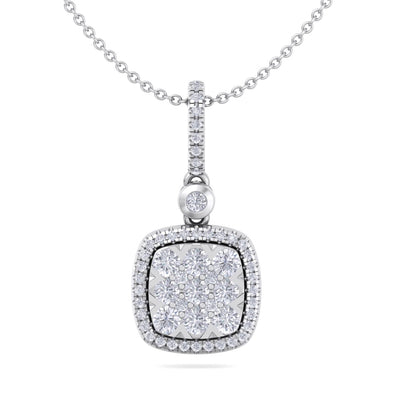 Square pendant in white gold with white diamond of 0.58 ct in weight - HER DIAMONDS®