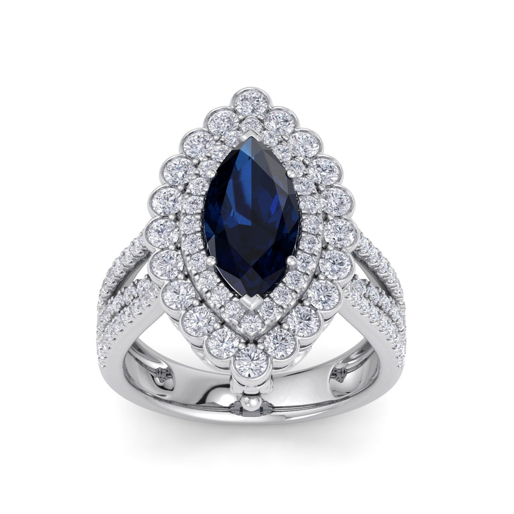 Marquise shaped ring and pendant in white gold with sapphire and white diamonds of 1.78 ct in weight - HER DIAMONDS®